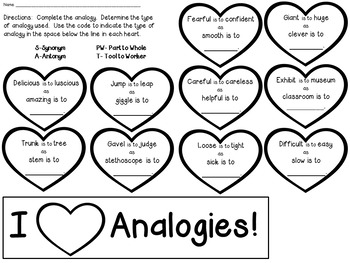 Analogies Craftivity for Valentine's Day