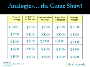 Analogy Game Show