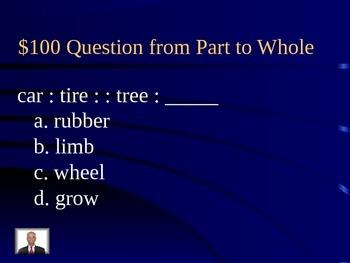 Analogy Jeopardy Game