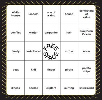 Analogy Practice-Bingo Game Fun-Grades 4-6