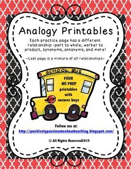 Analogy Practice (Four No Prep Printables)