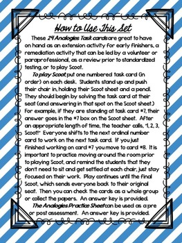 Analogy Task Cards Scoot Game and Assessment