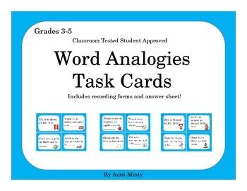 NO PREP  Analogy Task Cards Scoot Activity,   Center Activity