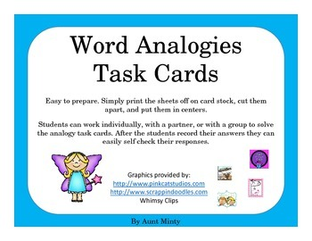 NO PREP  Analogy Task Cards Scoot Activity,   Center Activity