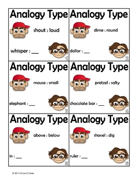 Analogy Types, Figurative Language Center Activity with Task Pages or Task Cards