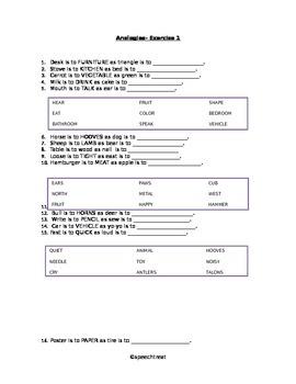 Analogy Worksheet