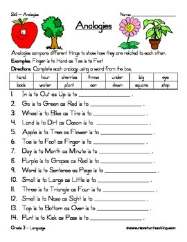 Analogy Worksheet by Have Fun Teaching | Teachers Pay Teachers