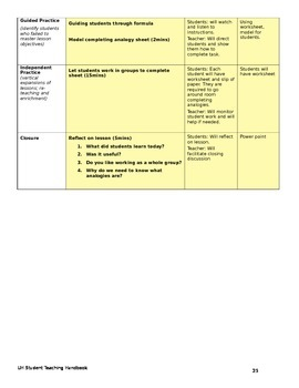 Analogy introduction lesson plan
