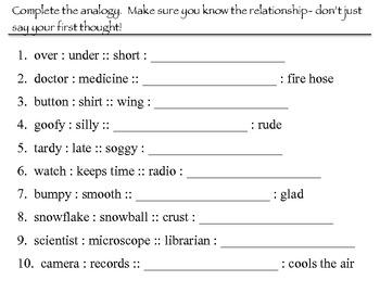Analogy task