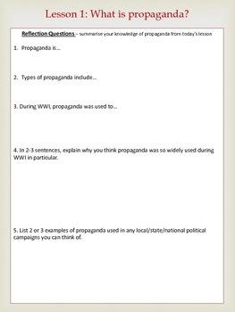 Analysing WWI Propaganda -5 lessons & Student Notebooks