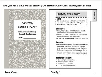 Analysis Booklets & Writing Mini-Unit: Use with ANY Unit!