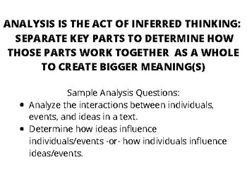 Analysis Note Card: CCSS Aligned Read Informational Text: Key Ideas/Details