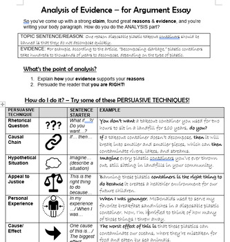 Analysis Resources for Argument Writing