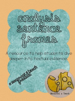 Analysis Sentence Frames