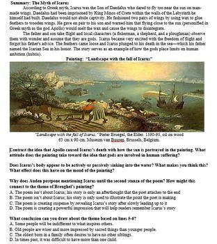 ELA Test Prep (Analyze Different Mediums) Bruegel's Icarus+ WH Auden+ Pink Floyd