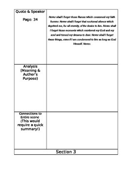 Analysis and Close Reading Log for NIGHT