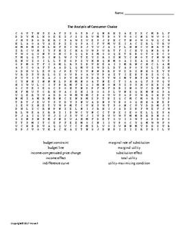 Analysis of Consumer Choice Vocabulary Word Search for Economics