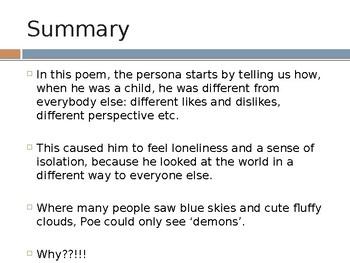 alone by poe summary