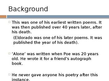 Analysis of Edgar Alan Poe's 'Alone' PPT