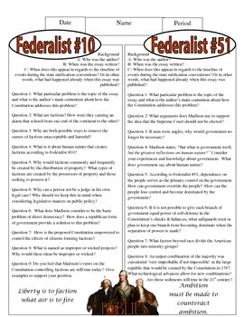 Analysis of Federalist #10 with additional synthesis questions