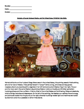 "Analysis of Frida Kahlo Painting ""Border Between Mexico and the United States"""
