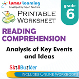 Analysis of Key Events and Ideas Printable Worksheet, Grade 6