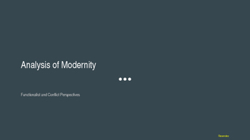 Analysis of Modernity