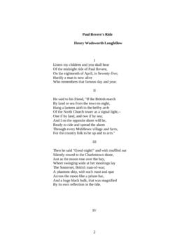 Analysis of Paul Revere's Ride