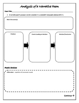analysis of a narrative poem graphic organizer by jaime somers smith. Black Bedroom Furniture Sets. Home Design Ideas
