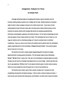 Analysis of a Poem (Writing Assignment) Bundle in Word--Great for WW or Alone