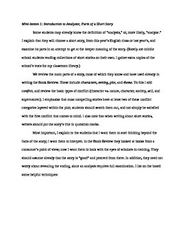 Analysis of a Short Story (Writing Assignment) Bundle in Word