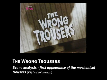 Analysis of film language in a sequence from The Wrong Trousers