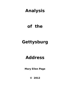 Analysis of the Gettysburg Address