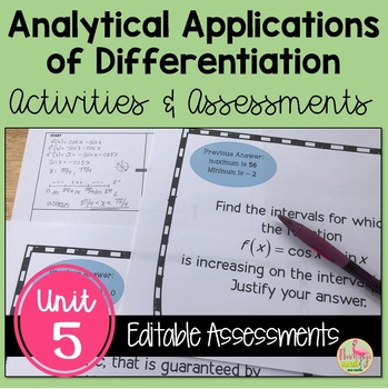 Analytic Applications of Differentiation Activities Assessments (Unit 5)