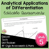 Calculus Analytic Applications of Differentiation Assessme