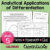 Analytic Applications of Differentiation Essentials and Vi