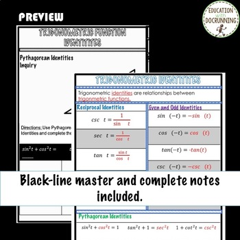 Analytic Trigonometric Identities Color Coded Notes for PreCalculus Unit 5