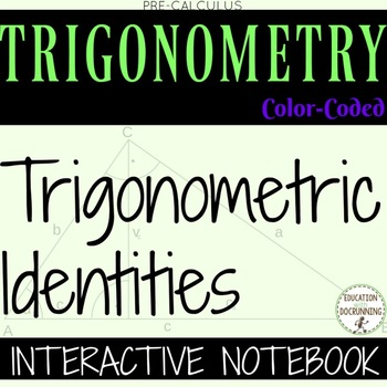 PreCalculus Analytic Trigonometric Identities Color Coded Notes