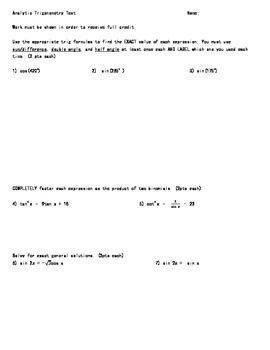 Analytic Trigonometry Test V1-V3 (the mathsmith)