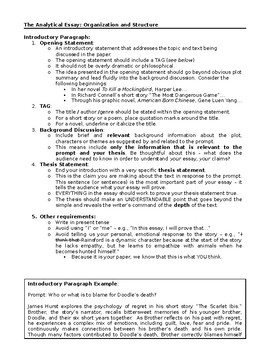 Analytical Essay Structure Handout