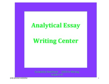 Analytical Essay Writing Center [Informational  and Fiction]