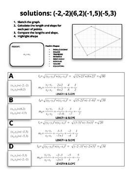 Analytical Geometry: Quadrilaterals and Triangles using Length and Slope