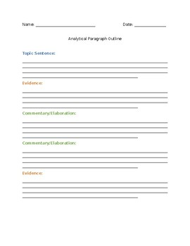 Analytical Paragraph Outline and Samples