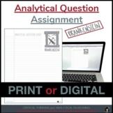 FRANKENSTEIN   FRANKENSTEIN ANALYTICAL QUESTION   DISTANCE LEARNING