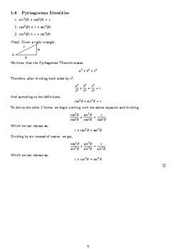 Analytical Trigonometry Cheat Sheet