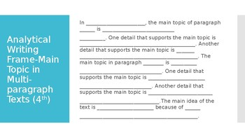 Analytical Writing Frame- Main Topic Multi-Paragraph Text