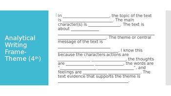 Analytical Writing Frame- Theme (4th)
