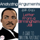Analyze Arguments: King's Letter from a Birmingham Jail- C