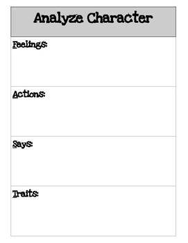 Analyze Character Graphic Organizers