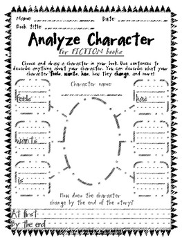 Analyze Character Reading Sheets for Daily 5 and Raz Kids